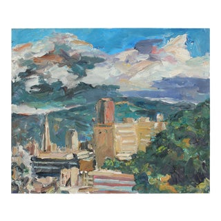 San Francisco Cityscape With Clouds in Blue, Green, Tan, and Orange Oil Painting, 2004 For Sale