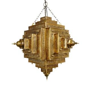 Square Brass Work Lantern Large For Sale