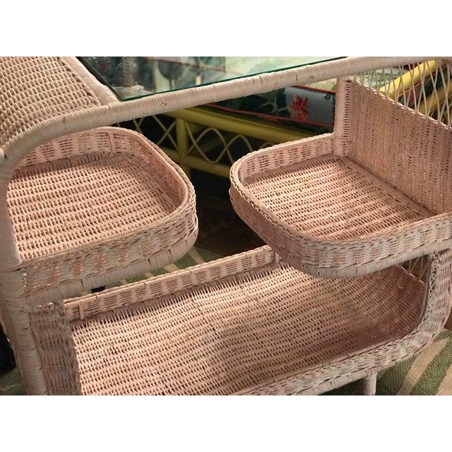 Vintage Palm Beach Regency Pink Wicker Bar Cart For Sale - Image 10 of 13