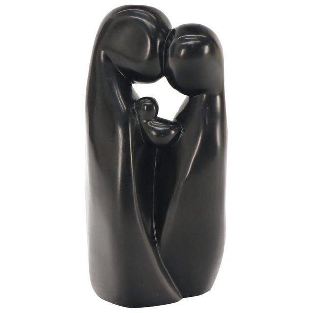 Large Carved and Polished Onyx Sculpture of Mother and Daughter Theme For Sale - Image 11 of 11