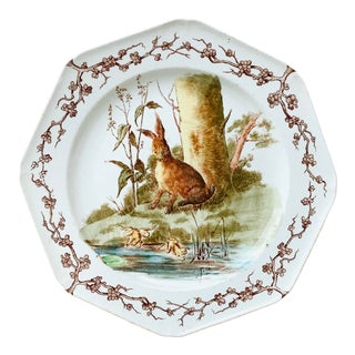 Late 19th Century English Octagonal Plate Hare & Frogs Westhead and Moore For Sale