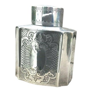 Antique Sterling Silver Tea Caddy by Atkin Brothers For Sale