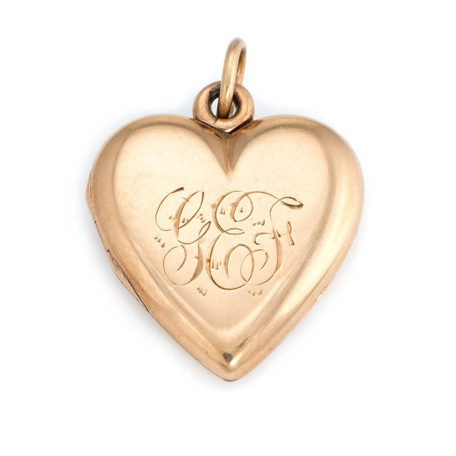 Antique Victorian Heart Locket C1899 Pendant 14k Rose Gold Hair Jewelry Initials For Sale - Image 4 of 5