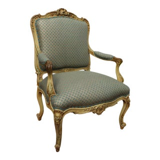 19th C. Louis XV Style Fauteuil Arm Chair For Sale