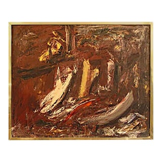 Brick Red Abstract Painting For Sale