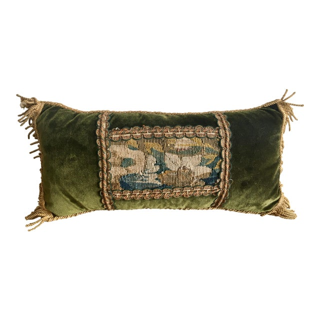 Vintage Traditional Forest Green Velvet Lumbar Pillow With Abusson Tapestry Panel For Sale