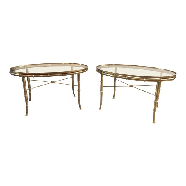 Pair of Brass Faux Bamboo Mastercraft Oval Tables For Sale