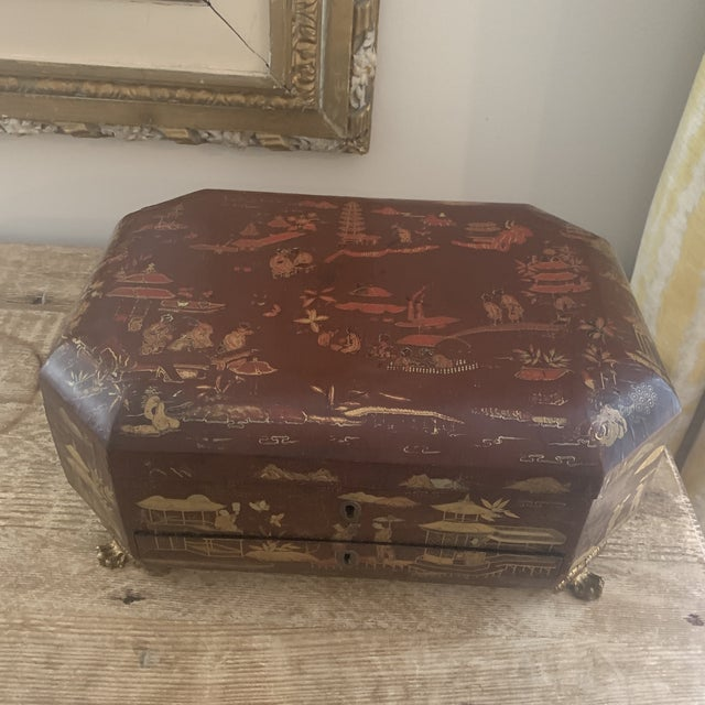 Chinese Antique Chinese Iron Red Lacquered Sewing Box on Feet With Drawer For Sale - Image 3 of 12