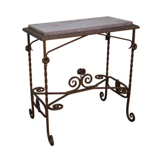 Antique Wrought Iron Marble Top Side Table