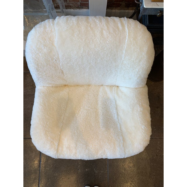 Ivory 1970's Reupholstered Curly Shearling Swivel Chair - 2 Available For Sale - Image 8 of 11