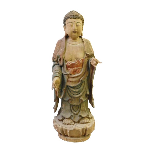 Chinese Rustic Wood Standing Buddha Statue - Image 2 of 8