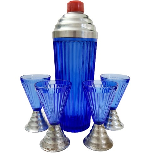 1920s Art Deco Cobalt Blue Cocktail Shaker & Glasses With Chrome Bases - 5 Pieces For Sale - Image 13 of 13