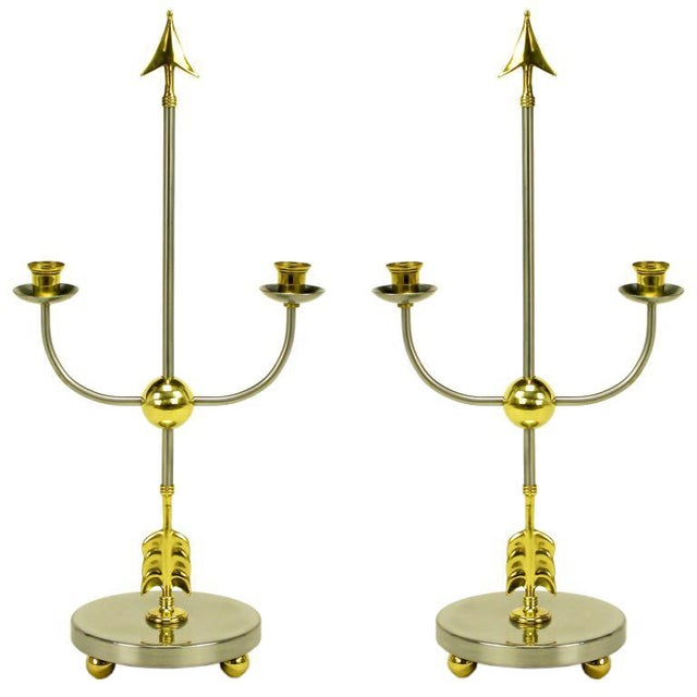 Pair Italian Empire Style Brushed Steel & Brass Candelabra For Sale - Image 10 of 10