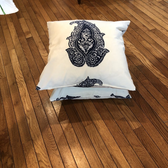 Boho Chic Indoor / Outdoor White & Navy Accented Pillows - A Pair For Sale - Image 3 of 6