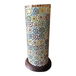 Flower Mosaic Table Lantern For Sale