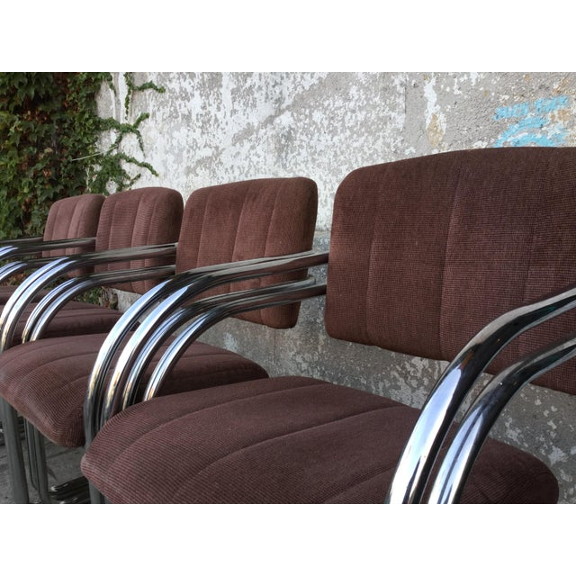 Set of Four Milo Baughman Chrome Dining Chairs - Image 4 of 5