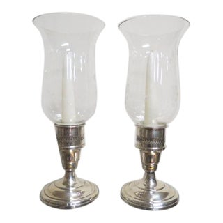 Vintage Antique Sterling Silver and Glass Hurricane Candle Holders, C. 1940 - A Pair For Sale