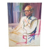 Image of Barbara Yeterian Man in Glasses Painting For Sale