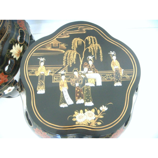 Asian Chinese Black Lacquer Drum Side Tables or Stools - a Pair For Sale - Image 3 of 6