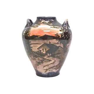 Antique Sunset/Cottage Scene Faience Vase For Sale