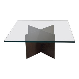 Contemporary Minimalist Patinated Steel and Glass Coffee Table by Scott Gordon For Sale