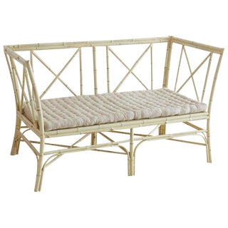Hollywood Regency Lacquered Bamboo Settee or Bench
