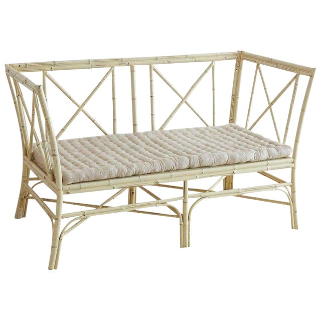 Hollywood Regency Lacquered Bamboo Settee or Bench For Sale