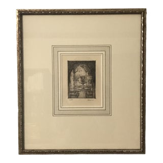 Mid 20th Century Courtyard Garden Fountain Pen and Ink Drawing, Framed For Sale