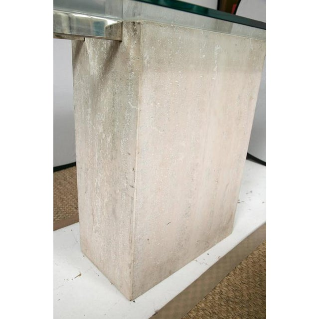 Travertine and Chrome Console Table by Ello Furniture - Image 6 of 8
