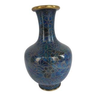 Blue Flower Cloisonné Vase For Sale