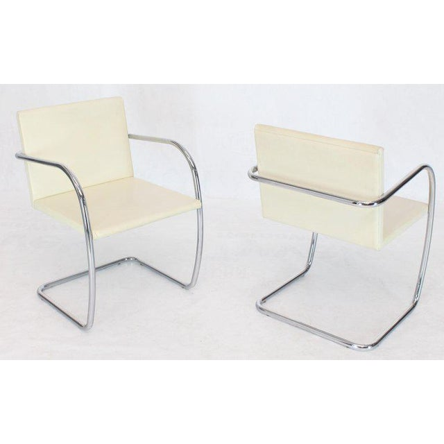 Pair of Thin Pad Tubular Brno Knoll Cream Leather Chairs Midcentury Bauhaus For Sale - Image 9 of 13