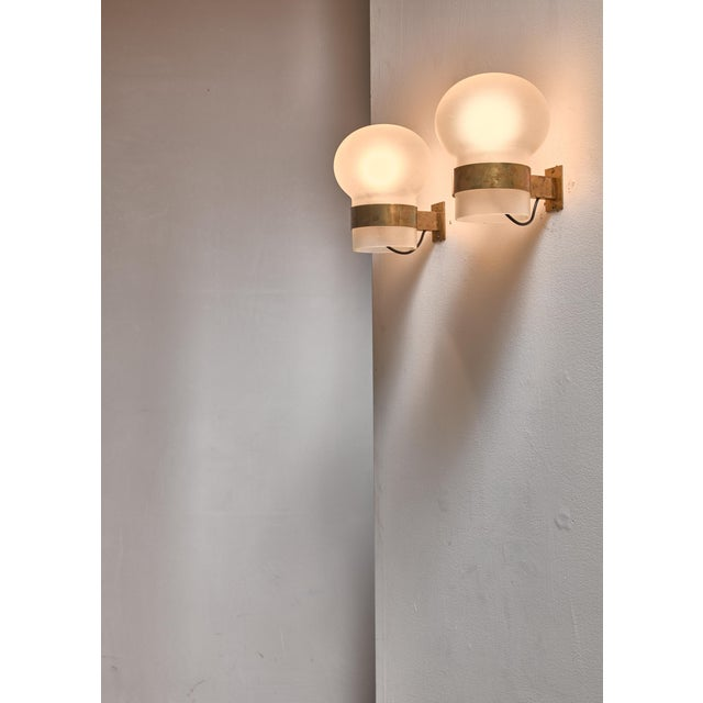 Fontana Arte Pair of Wall Sconces, Frosted Glass Shades with Brass, Italy, 1960s - Image 3 of 3