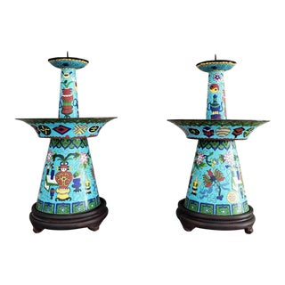 Qing Dynasty Chinese Cloisonné Enamel Candle Holder Pricket - a Pair For Sale