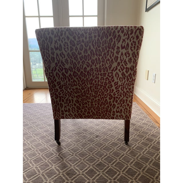 1940s 1940s Vintage Chair in New Thibaut Red Leopard Print For Sale - Image 5 of 8