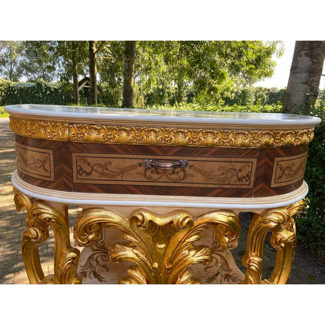 New Italian Rococo/Baroque Style Table in Gold and Brown With Wooden Top For Sale - Image 9 of 13