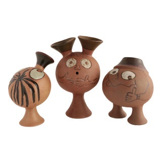 Mid-Century Critter Pottery Vases - Set of 3 For Sale