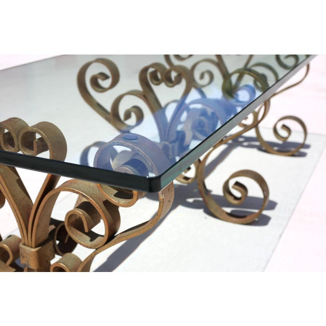 Glass Vintage Iron Scroll Cocktail Table With Thick Glass Top For Sale - Image 7 of 9