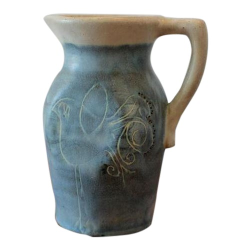 Mid-Century Puerto Rican Pottery Blue Studio Pottery Pitcher For Sale
