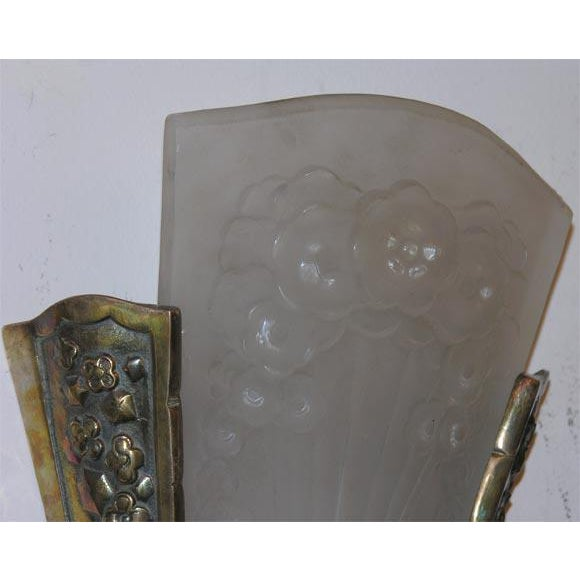 """Frosted glass and silvered bronze wall sconces, glass signed """"Muller Freres."""""""