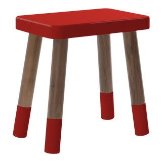Tippy Toe Kids Chair in Walnut and Red Finish For Sale