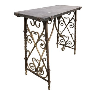 Antique Gothic Iron Console With Slate Top For Sale