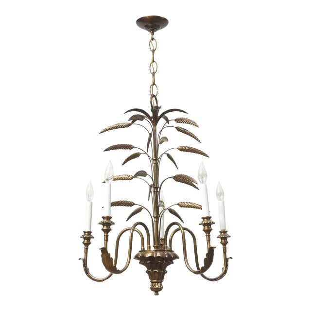 Contemporary Five Light Brass Wheat Chandelier For Sale