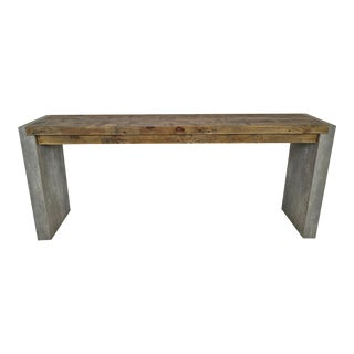 Modern Salvaged Pine & Cement Console For Sale