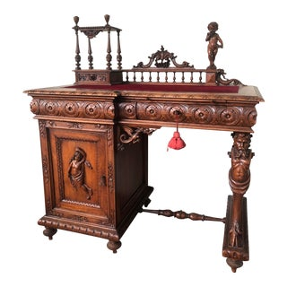 Antique French Baroque Carved Walnut Writing Desk For Sale