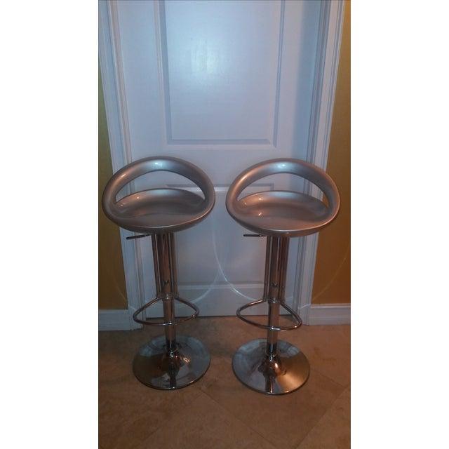 Silver Modern Bar Stools - A Pair - Image 7 of 8