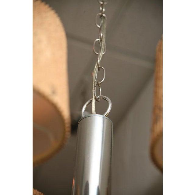 Modern Feldman Lamp Co. Chrome Tubular Chandelier With Cork Shades. - Image 8 of 11