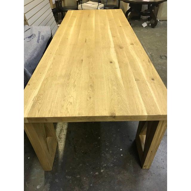 Boho Chic Rustic Oak Finish 8-Foot Farm Table For Sale - Image 3 of 9