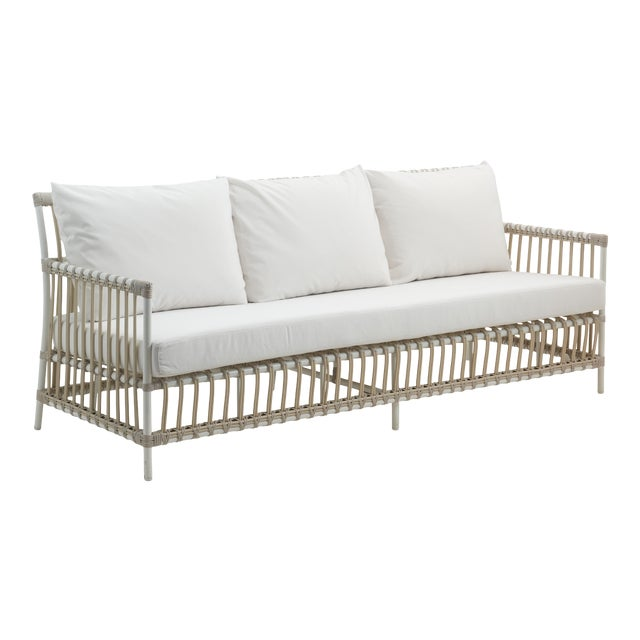 Caroline Exterior 3-Seater Sofa - Dove White - Tempotest White Canvas Seat and Back Cushions For Sale
