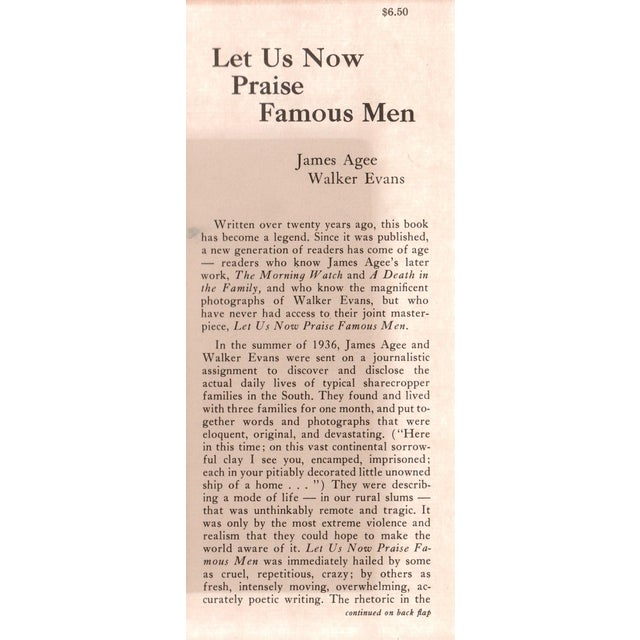 Let Us Now Praise Famous Men by James Agee & Walker Evans. Boston: Houghton Mifflin Company, 1960. 471 pages. Hardcover...