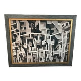 Image of Vintage Mid Century Modern Abstract Oil Painting, Signed For Sale